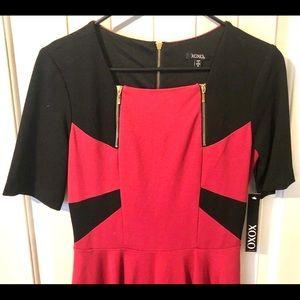 NWT Xoxo Holiday Dress maroon black gold zip